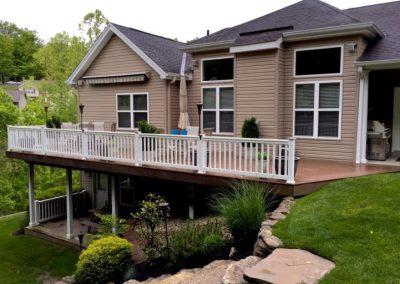 Composite Bi-Level Deck Build with Vinyl Handrails (Cincinnati, Ohio)